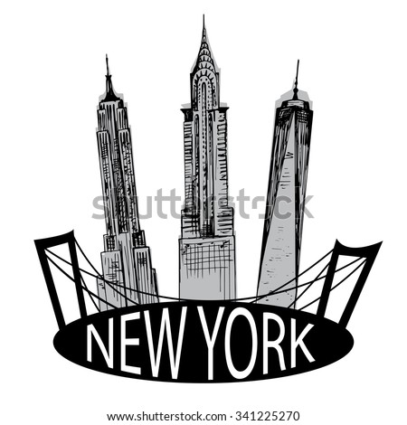 Hand drawn New York famous buildings  - stock vector