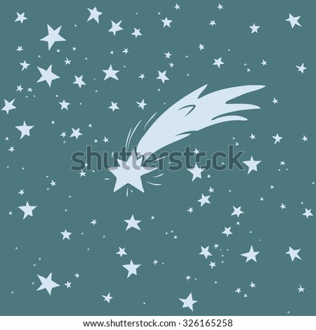 Hand-drawn night sky with shooting star