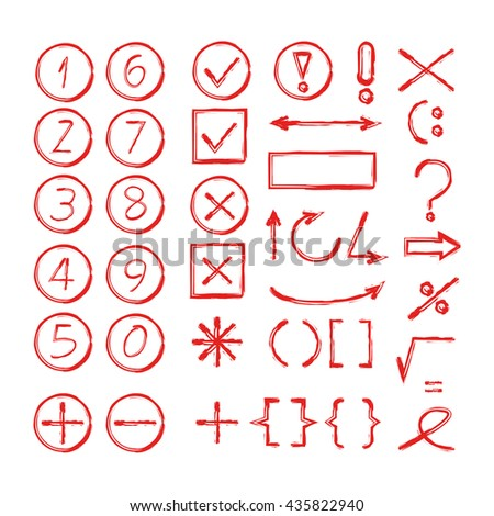 hand drawn number, arrows, math signs