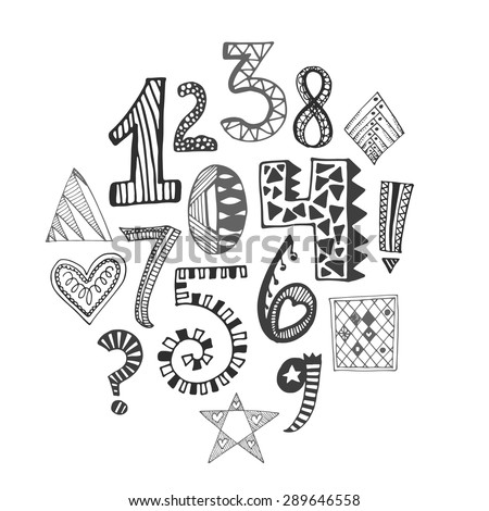 Hand drawn numbers collection. Vector illustration with sketch elements.