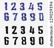 Hand-drawn Numbers. Doodles. Set 1. Vector Sketch - stock vector