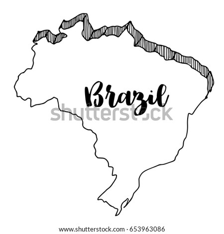 Hand Drawn Brazil Map Vector Illustration Stock Vector HD Royalty