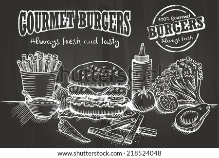 Hand drawn of burger and ingredients - stock vector