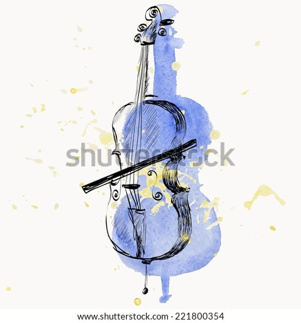 hand drawn of classical stringed music instruments - stock vector