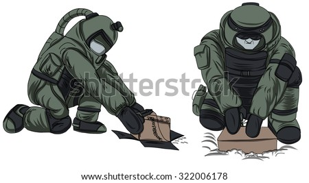 Hand drawn of Explosive Ordnance Disposal (EOD) ,cartoon vector - stock vector