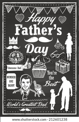 Hand Drawn of Father's Day Icons - stock vector