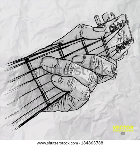 hand drawn of had playing guitar on crumpled paper background  - stock vector