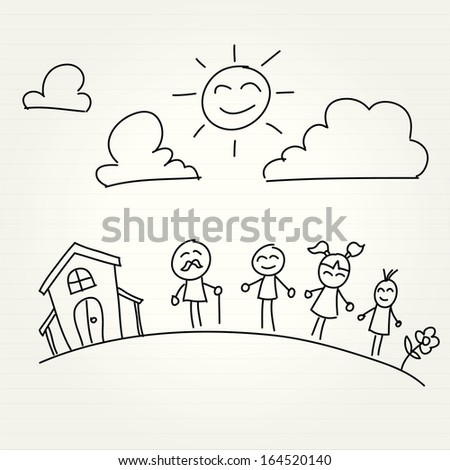 Hand Drawn of house and children - stock vector