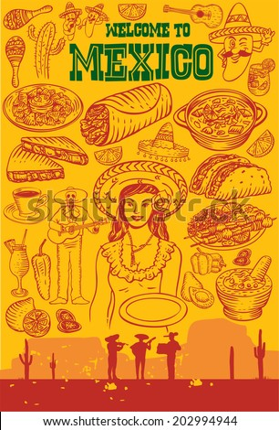 Hand drawn of Mexican Icons - stock vector
