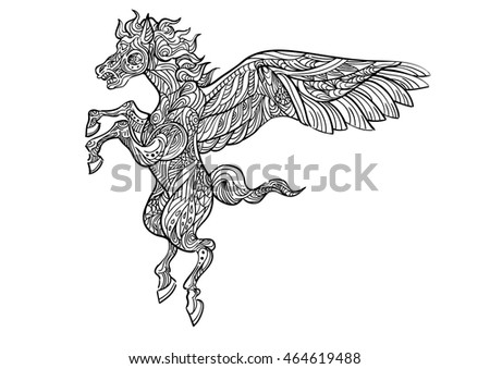 Hand drawn of Pegasus in Zentangle style