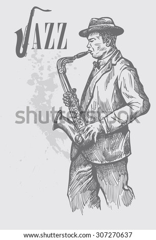 Hand drawn of saxophonist