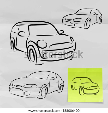 hand drawn of silhouette of car on crumpled paper with sticky note background  - stock vector