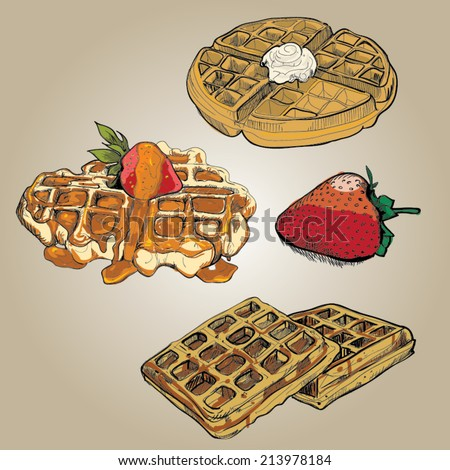 Hand drawn of waffles set with strawberry. Vector illustration. - stock vector