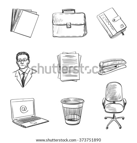 Hand-drawn Office equipment icons. Quality design illustration, elements and concept. - stock vector