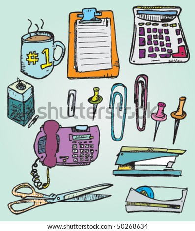 Hand Drawn Office Supplies - stock vector
