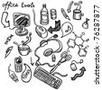 Hand drawn office tools set - stock vector