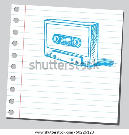 Hand drawn old cassette - stock vector