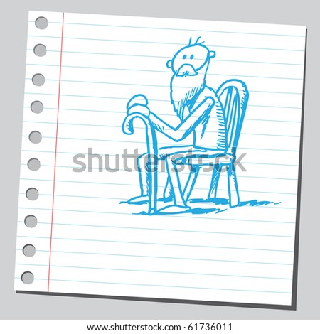 Hand drawn old man siting - stock vector