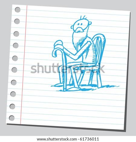 Hand drawn old man siting - stock vector