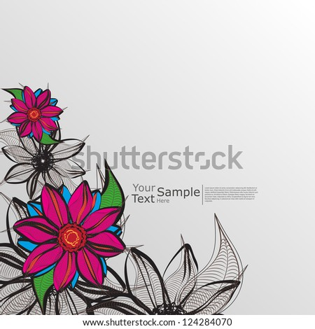 hand drawn Old-styled flowers Vector - stock vector