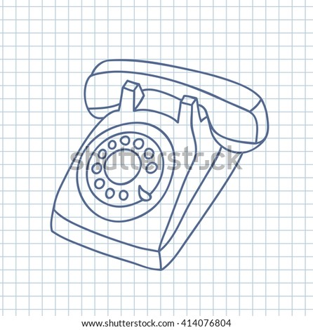 Hand drawn old telephone. Vector illustration. - stock vector