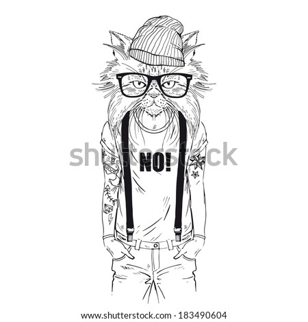 Hand drawn one color sketch of cat dressed up in t-shirt with quote isolated on white - stock vector