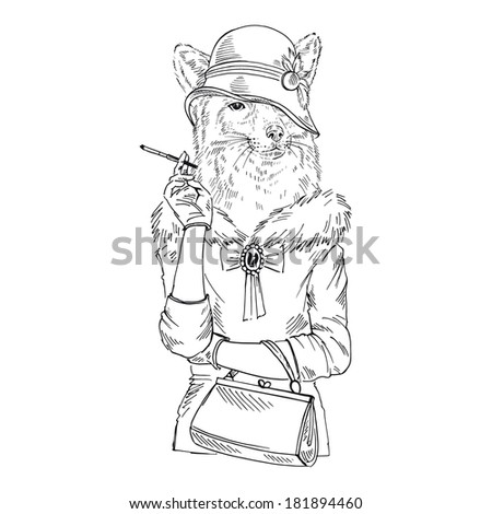 Hand drawn one color sketch of fox girl dressed up in retro style isolated on white, anthropomorphism - stock vector