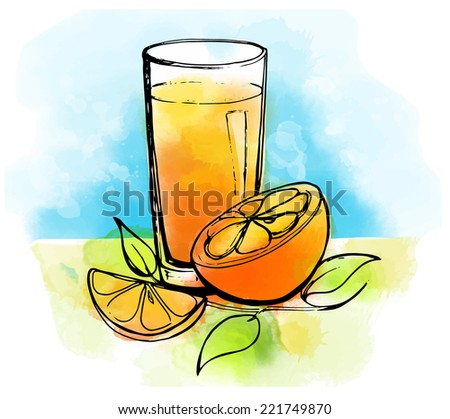 Hand drawn orange juice with slices of orange and leaves - stock vector