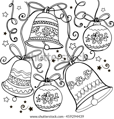 hand drawn ornament with christmas bells for the anti stress coloring page