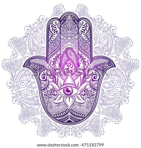 hand drawn ornate amulet hamsa hand stock vector 475182799 shutterstock. Black Bedroom Furniture Sets. Home Design Ideas