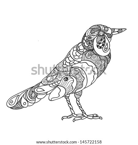 Hand drawn ornate bird template - stock vector