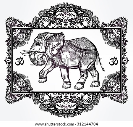 Hand drawn ornate elephant deity in oriental floral frame.  Isolated vector illustration. For tattoo, yoga, African, Indian, Thai, boho design, spiritual print, posters, t-shirts and other textiles. - stock vector