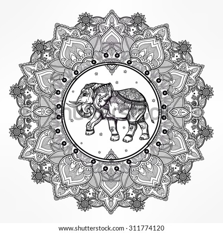 Hand drawn ornate paisley mandala with elephant inside. Ideal ethnic background, tattoo art, yoga, African, Indian,Thai, spirituality, boho design. Use for print, posters, t-shirts and other textiles. - stock vector