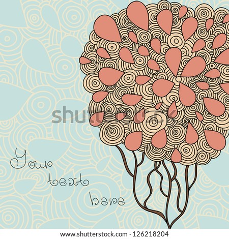 Hand Drawn Ornate Tree Doodle Vector Illustration - stock vector