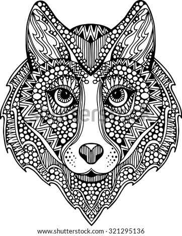 Hand Drawn Ornate Wolf Head Illustration Stock Vector