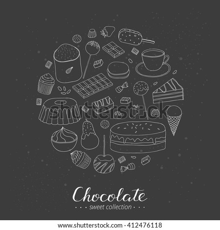 Hand drawn outline chocolate products in circle shape. Cocoa, chocolate cake, cupcake, bundt, ice cream, cake pop, candies, strawberry, pear, apple. - stock vector
