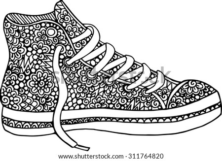Hand drawn outline doodle sneakers illustration decorated with abstract ornaments - stock vector
