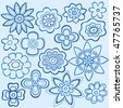 Hand-Drawn Outline Flowers Doodles on Blue Background- Vector Illustration - stock vector