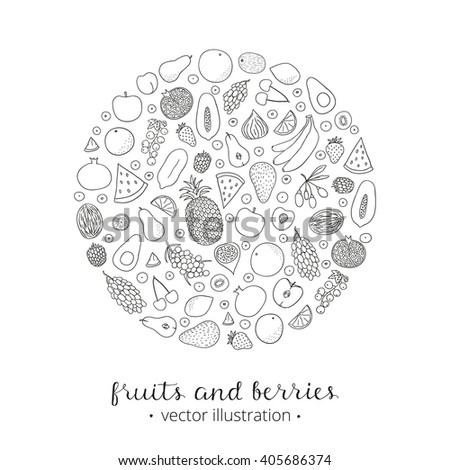 Hand drawn outline fruits and berries in circle shape. Pineapple, strawberry, goji, kiwi, apple, grapefruit, banana, blackberry, sea buckthorn, cherry, lemon, fig, papaya, grape, peach. - stock vector