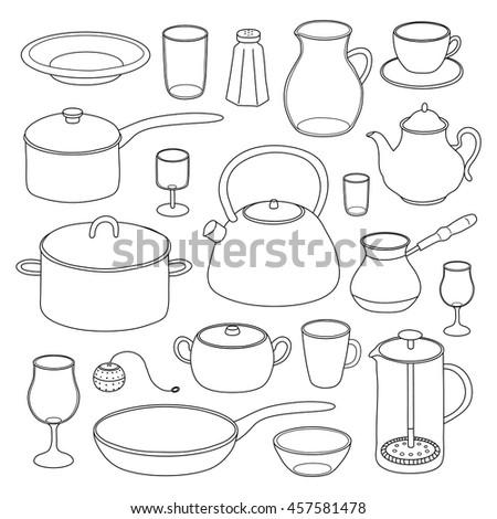 White Kitchen Utensils kitchen utensils illustrations set cooking dinner stock vector