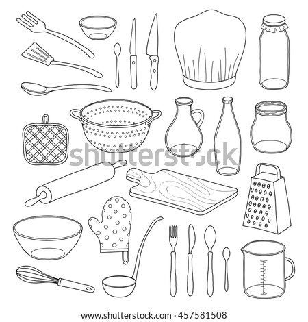 Hand drawn outline kitchen utensils isolated on white background. - stock vector