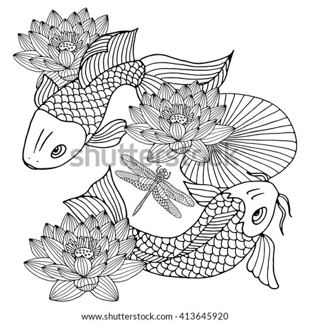 Hand Drawn Outline Koi Fish Gold Japanese Carp With Lotus Flowers Line Drawing Coloring Book