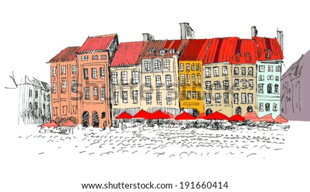 hand drawn outline of a historical center of a european city: old houses with tiled roofs in vector - stock vector