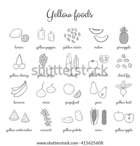 hand drawn outline yellow fruits berries and vegetables isolated on white background lemon