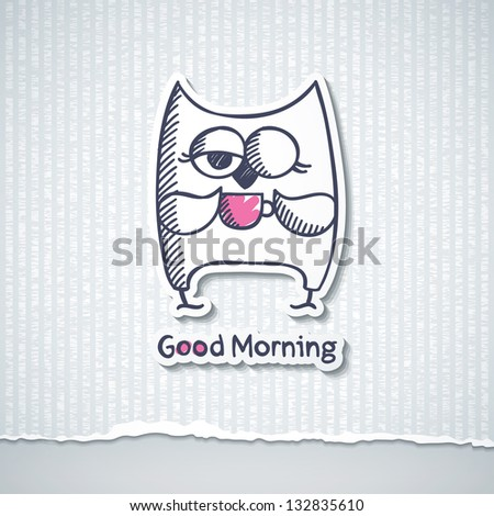 hand drawn owl and cup of coffee - stock vector