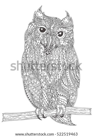 Hand Drawn Owl With Ethnic Floral Doodle Pattern Coloring Page