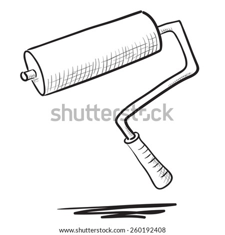 Hand drawn Paint roller illustration