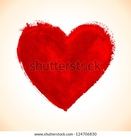 Hand-drawn painted red heart, vector element for your design - stock vector