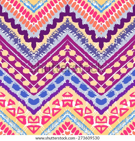Hand drawn painted seamless pattern. Vector illustration for tribal design. Ethnic motif. Zigzag and stripe line. For invitation, web, textile, wallpaper, wrapping paper. - stock vector