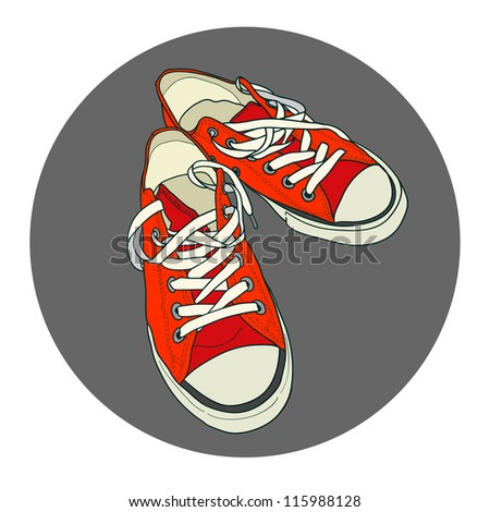 Hand drawn pair of red sneakers on the grey background. Vector illustration.